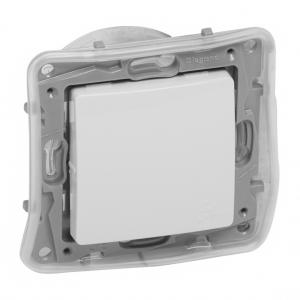 Bouton poussoir/sonnette  Niloé - NO-NC - 1 poste  IP44 -6 A -250 V ~ - bornes automatiques -blanc
