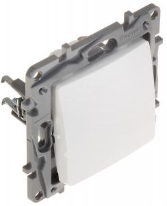 Bouton poussoir/sonnette à contact Niloé - NO-NC - 1 poste - 6 A 250 V ~ - bornes automatiques - blanc