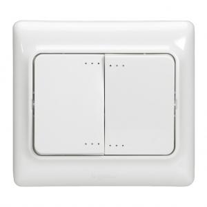 Interrupteur d'éclairage double allumage Kaptika- montage encastré - 10 AX 250 V ~ - blanc