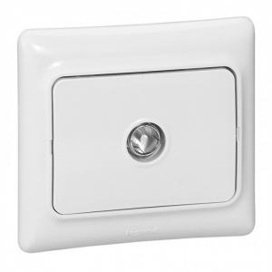 Prise de télévision terminal blanc Kaptika - montage encastré - connecteur mâle -