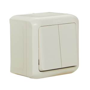 Interrupteur d'eclairage Forix  double allumage simple, 10 AX   IP44  étanche Montage en saillie