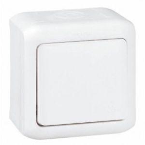 Interrupteur d'eclairage Forix  étanche Anti-éclaboussures, allumage simple  poussoir blanc, 10 AX   250 V ~  IP44  étanche Montage en saillie